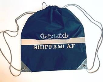 Ship Fam AF Anchor Silver Sparkle Holographic Reflective Back Drawstring Backpack, Ship gear, Shipfaced Rave Bag, Cruise Sport Reflective