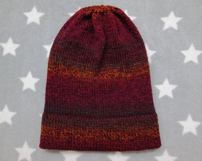 Knit Hat - Gradient - Deep Red & Rainbow - Slouchy Beanie