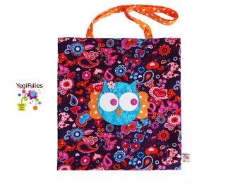 owl shopping bag, owl tote bag, owl handbag, owl extra bag, pink blue shopping bag, pink blue tote bag, pink blue handbag, pink extra bag