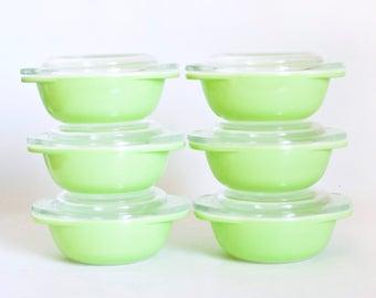 Vintage Pyrex Lime Green Ramekins, SET of 6 Mini Casserole Dishes Oven Safe, 080