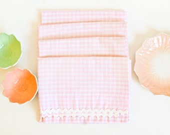 Vintage Pink Gingham Curtains, Checkered Drapes, Cottage Chic Farmhouse Sink Cover