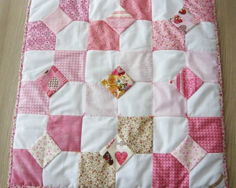 "Patchwork quilt ""Bowties love rose"""