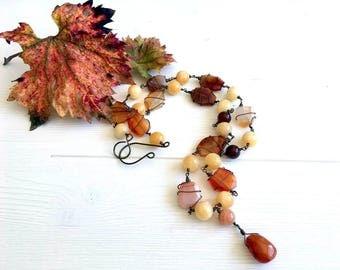 Healing Gemstone long beaded boho style pendant necklace, Carnelian long chakra stone necklace, brown orange wire wrap beaded necklace