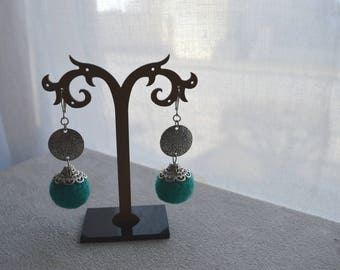 """Earrings """"Carroll"""" beads made of cotton, silver tone findings"""