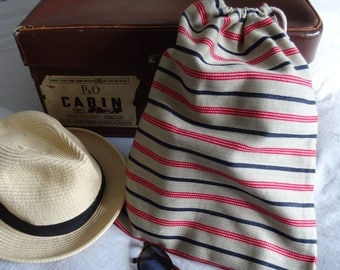 Mans Striped Shoe Bag Red/Navy & Stone