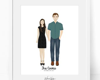 Digital Custom portrait illustration Anniversary  Engagement  wedding portrait personalized valentines day illustration printable print  art