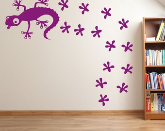 Lizard And Footprint Wall Stickers A63
