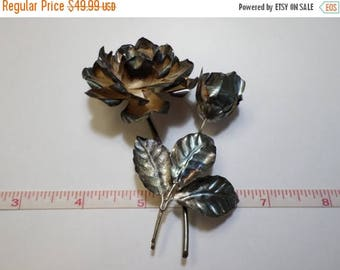 20%OFF Super Sale Beautiful Old VIntage, Hecho En Mexico 925 Sterling Silver Rose Brooch 21.1g - Used - Needs Cleaned