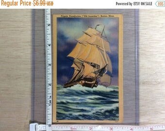 10% OFF 3 day sale Vintage Post Card Frigate Constitution Old Ironsides Boston Mass Used