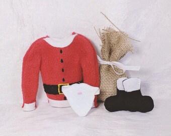 Elf Santa Costume - Elf Costume - Santa Sweater Boots, Beard and Bag - Elf Doll Costume -Holiday Elf Clothing - Santa Elf