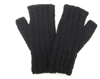 Black Fingerless Gloves/ Mittens. Wrist warmers. Hand Knit Gloves.