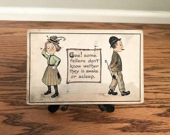 Vintage 1914 Post Card Funny Silly Humorous Cute Cartoon Old Fashioned Comedy Greeting Card Collectible Gift Romance Love Bowler Hat Chaplin
