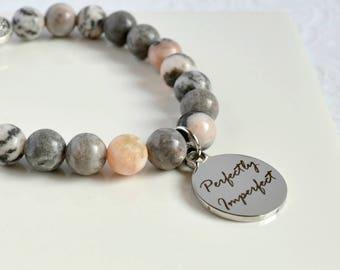 Religious Gemstone Bracelet, Inspirational Bracelet, Christian Bracelet, Faith Bracelet, Zebra Jasper Bracelet
