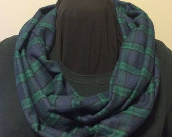 Blackwatch Navy Blue Green and Black Woven Flannel Infinity Scarf