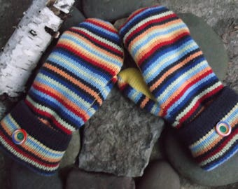 Cozy Sweater MIttens, made from recycled/upcycled sweaters in multi color strips, fleece lined
