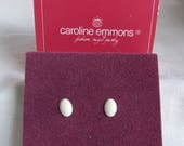 Caroline Emmons Charmettes Pierced Earrings 2039   Vintage, Cream, Boxed, New