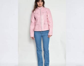 Vintage 90's Baby Pink Real Leather Jacket / Light Pink Racers Leather Jacket / Pink Genuine Leather Jacket