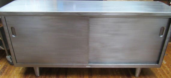 Industrial brushed steel credenza