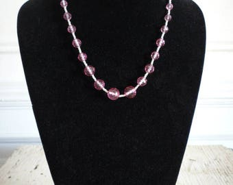 Vintage Pink Faceted Crystal Graduated Bead Seed Pearl Necklace Wedding Bridal