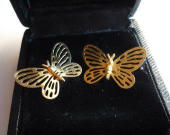 Vintage Gold Tone Butterfly Stud Earrings