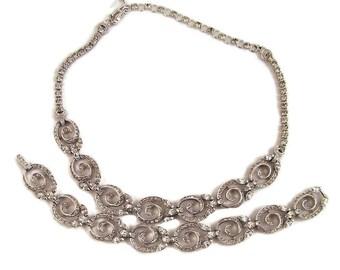 Pennino Necklace Bracelet Rhinestones Rhodium Plate Wedding Bridal Formal Wear