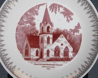Commemorative plate Giard United Methodist Church 125th Anniversary Celebration, Rural McGregor, Iowa;