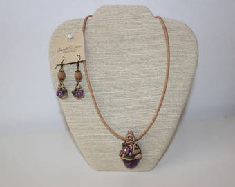 Necklace and Earrings in Cork with Pendants in Polymer Mass