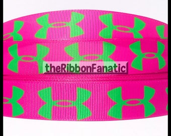 "5 yds 7/8""  Fuschia and Green Athletic Sports Grosgrain Ribbon"