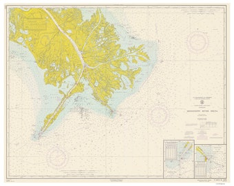 Mississippi River Delta Venice Bay Coquette Boothville 1965 Nautical Old Map Reprint - Louisiana - 80000 AC Chart 1272
