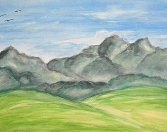 Mountains and Meadows watercolor DIGITAL DOWNLOAD