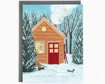 Holiday Cards - Cozy Cottage - happy holidays - winter - outdoor - nature / HLY-COTTAGE