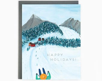 Holiday Cards - Skiing - happy holidays - winter - outdoor - nature / HLY-SKIING