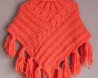 All Poncho and hat, chunky yarn and twists