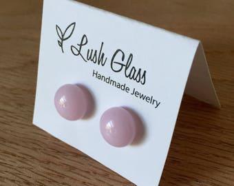 Pink Glass Stud Earrings