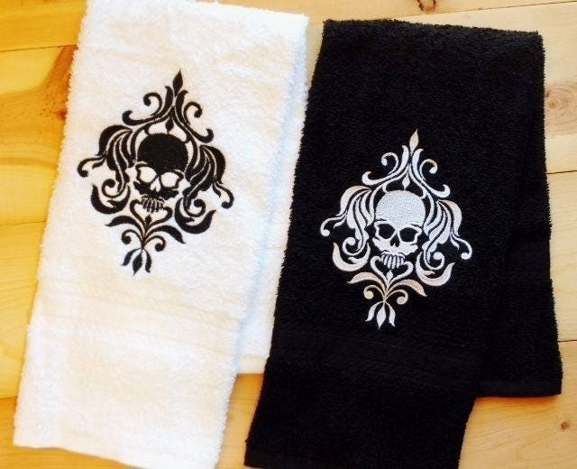 Damask Skull Towel Embroidered Hand Bath Towels Skulls Bathroom Decor Personalize It Choose Your Colors