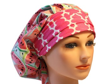 Scrub Cap Surgical Medical Chemo Chef Vet Nurse Hat Banded Bouffant Tie Back Watermelon Pink Band 2nd Item Ships FREE