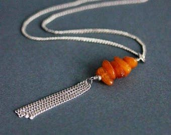 Natural Amber Necklace Raw Amber Necklace Silver Gemstone Necklace Orange Amber Necklace Baltic Amber Necklace Amber Beaded Necklace Amber