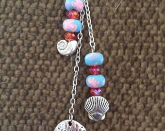Beachy purse and tote bag charms, dangles, tassels and decorations