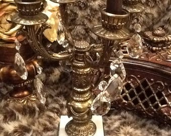 Vintage Ornate Brass Four Arm Candelabra Candle Holder Crystals White Marble