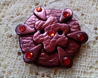 Deep red, purple clay button, round button, unique button, handmade button, artisan button, large button, sewing, knitting, scrapbooking