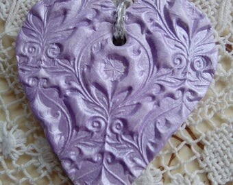 Lilac/lavender air dry clay hanging decoration, gift tag, hanging ornament, heart ornament, heart gift tag, home decor, gift for her