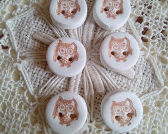 Set of 6 small owl buttons, polymer clay owl buttons, white and brown buttons, sewing, knitting, scrapbooking, card making, novelty buttons