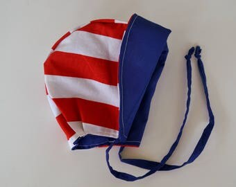 Little Patriot, American Flag inspired baby/toddler bonnet, USA, Fourth of July, red, white, and blue, one of a kind, 12-18 months