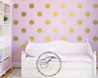 Polka Dot Wall Decal - Gold Wall Decal - Gold Dot Wall Sticker - Gold Polka Dot Wall Decor for Nursery - Girls Room Pattern Wall Decal DP011