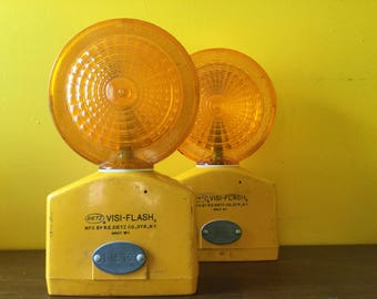 Pair of Vintage Visi-Flash Street Lights Dietz Syracuse NY