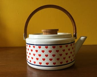 Vintage Enamel Teapot with Red Hearts