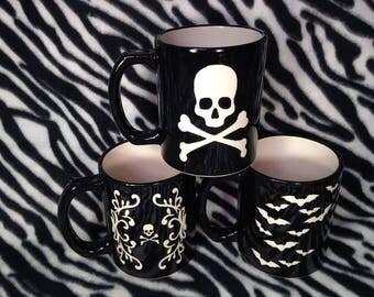 Large 24 oz Skull Poison Filigree Bats Coffee Cup Mug Handmade Hand Made OHIO USA Tattoo Pottery Ceramics