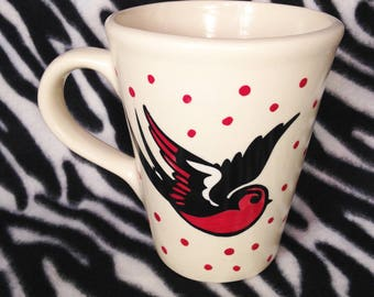 Red Sparrow Swallow Coffee Cup Mug Tattoo Pottery Ceramics OHIO USA Hand Made Handmade