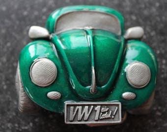 Vintage Emerald Green Enamel and  Antique Pewter VW Beetle Car Belt Buckle
