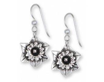 Daffodil Earrings Jewelry Sterling Silver Handmade Flower Earrings DAF2-E